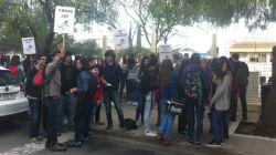 Alunos em protesto junto