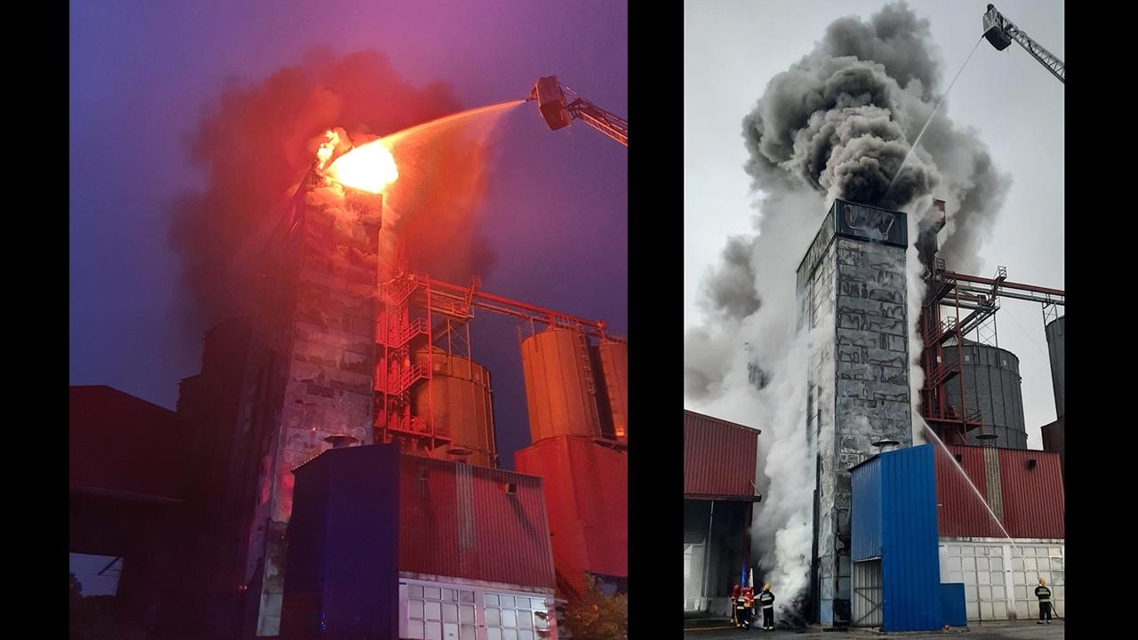 Incêndio nos silos de cereais da Cooperativa Agrícola de Beja